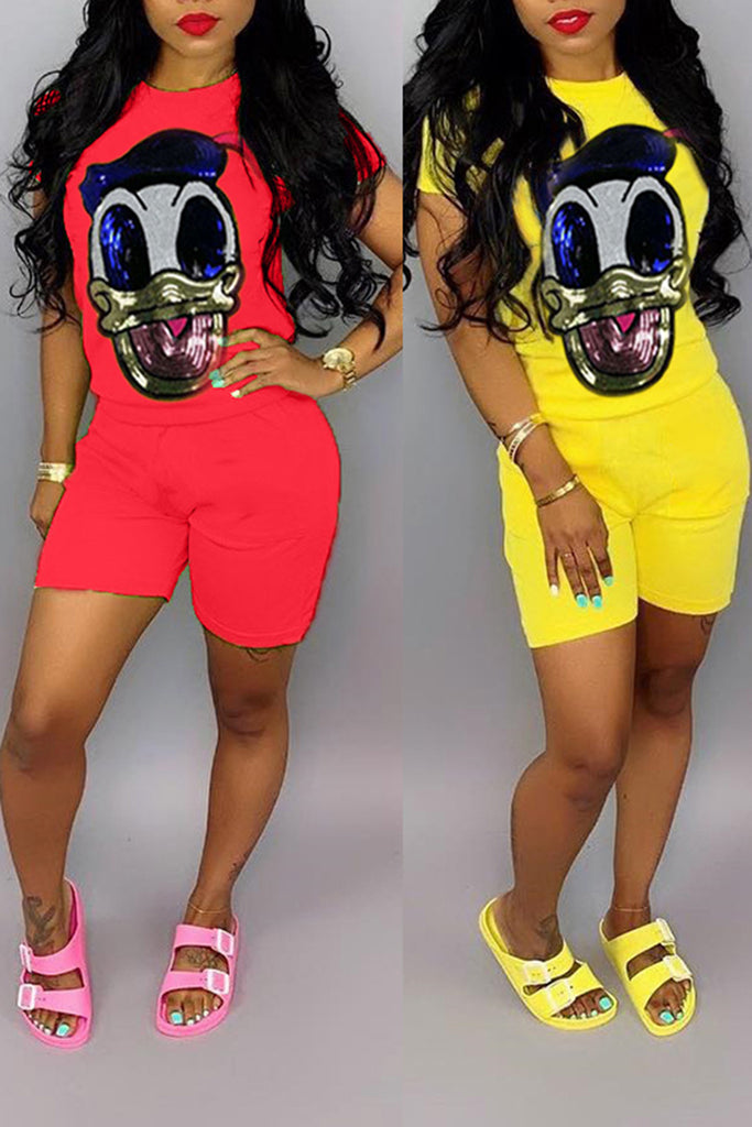 Short Sleeve Cartoon Sequined Top & Shorts
