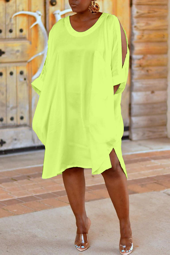 Three Quarter Split Sleeve Casual Midi Dress