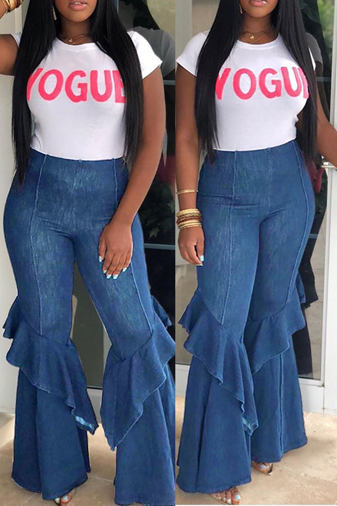 Denim Solid Color Flare Pants