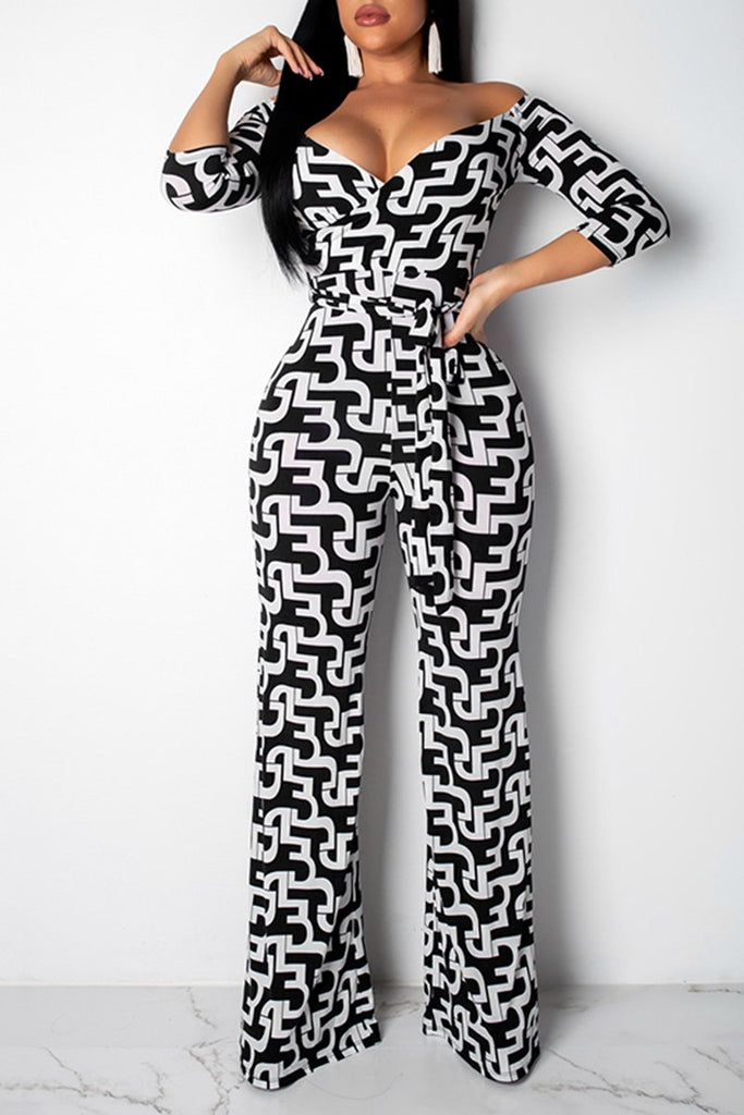 Geometry Print Half Sleeve Casual Jumpsuit With Belt