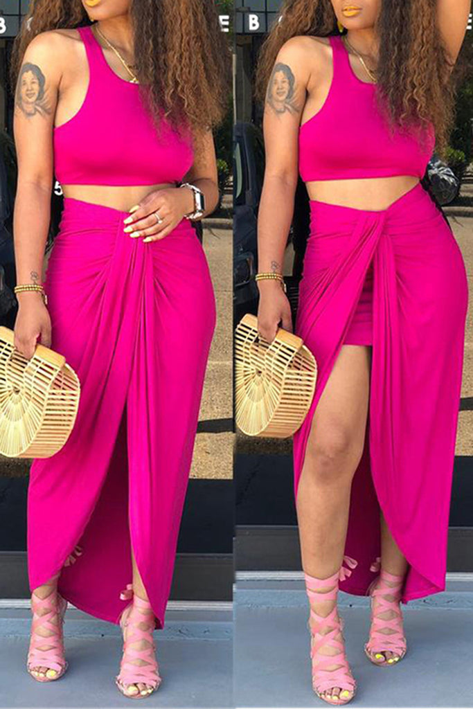 High Slit Solid Color Two Piece Dress