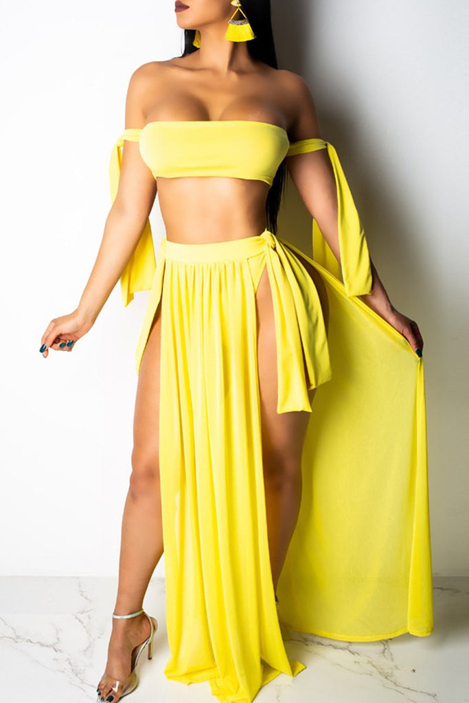 Solid Color Off The Shoulder Three Piece Swimwear
