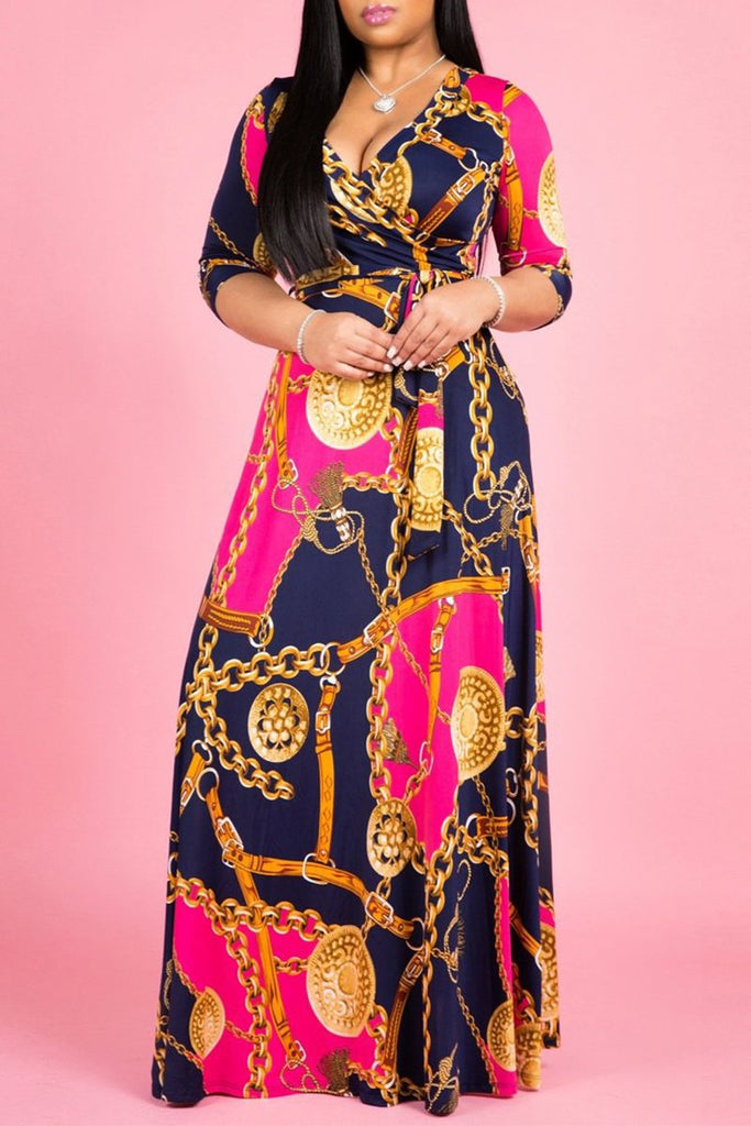Digital Print V-neck Half Sleeve Casual Maxi Dress Plus Size