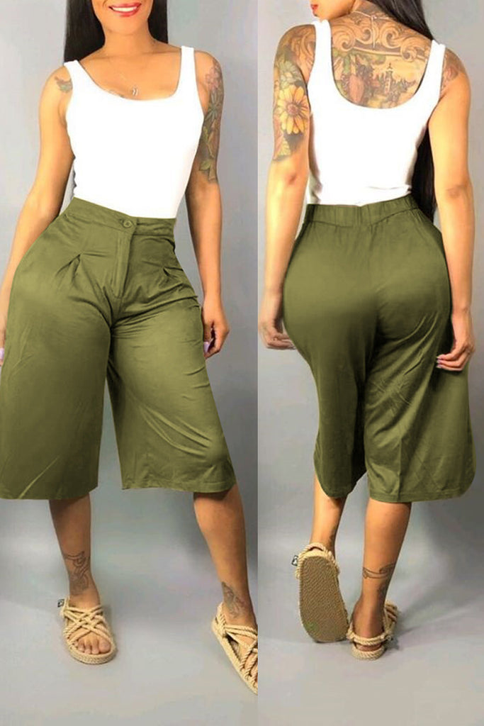Casual High Waist Wide Leg Capri Pants