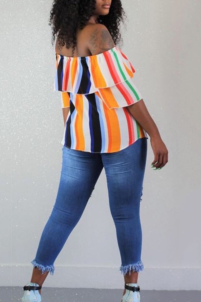 Off The Shoulder Rainbow Striped Top