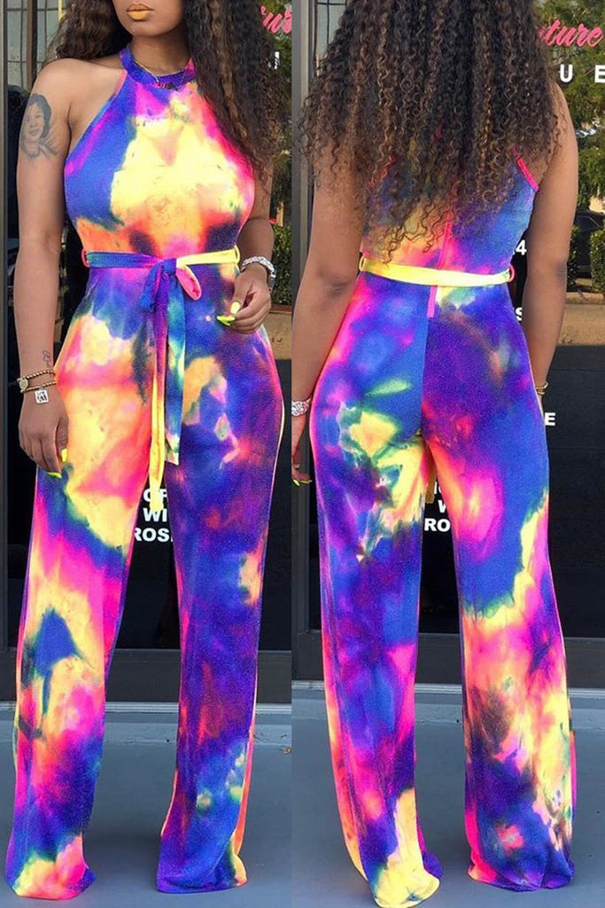 Tie Dye Halter Neck Jumpsuit With Belt