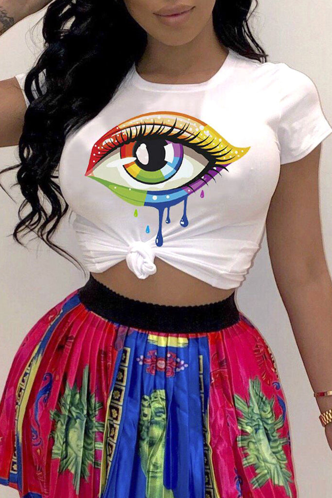 Eye Print Knotted Short Sleeve T-Shirt