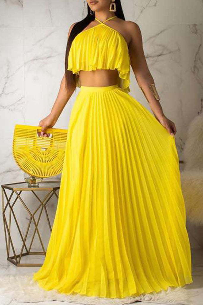 Halter Wrinkles Solid Color Top & Maxi Skirt