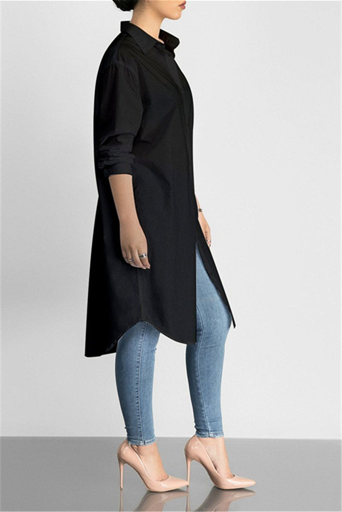 Solid Color Long Sleeve Lapel Dress