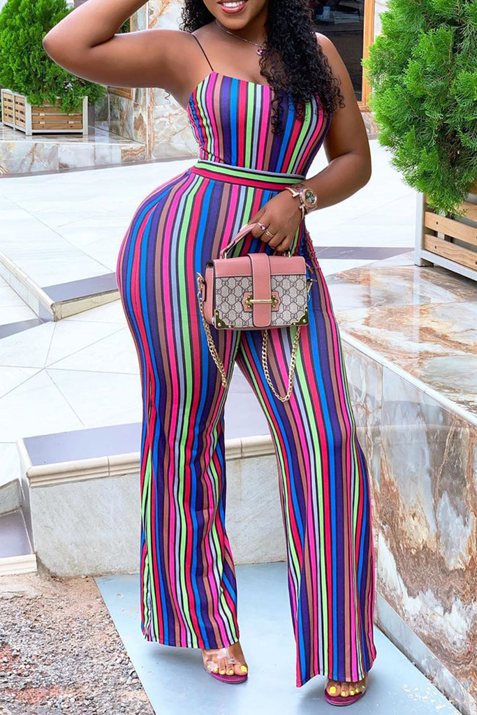 Rainbow Striped Open Back Jumpsuit