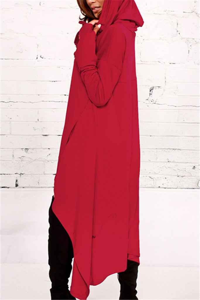 Asymmetric Hem Hooded Dress Top - MISSINLOOK
