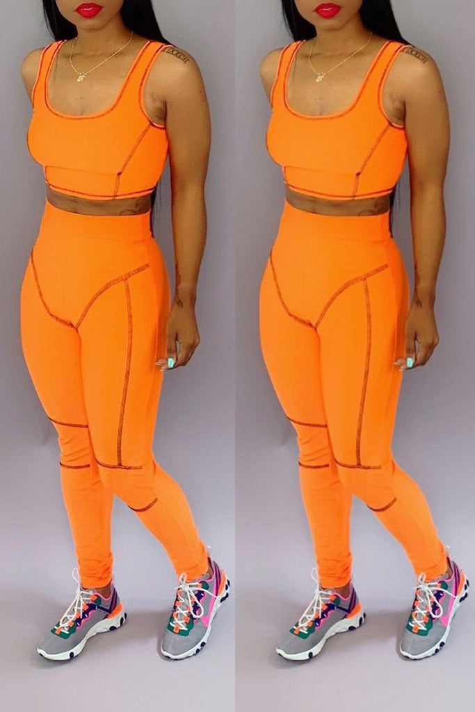 Scoop Neck High Waist Open Back Bodycon Top & Pants