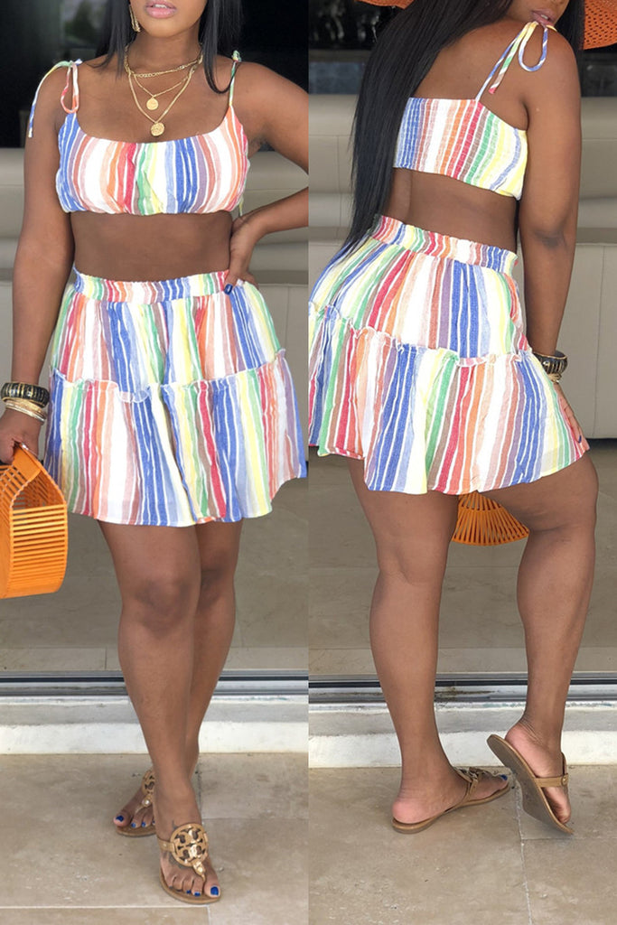 Rainbow Striped Sleeveless Top & Skirt