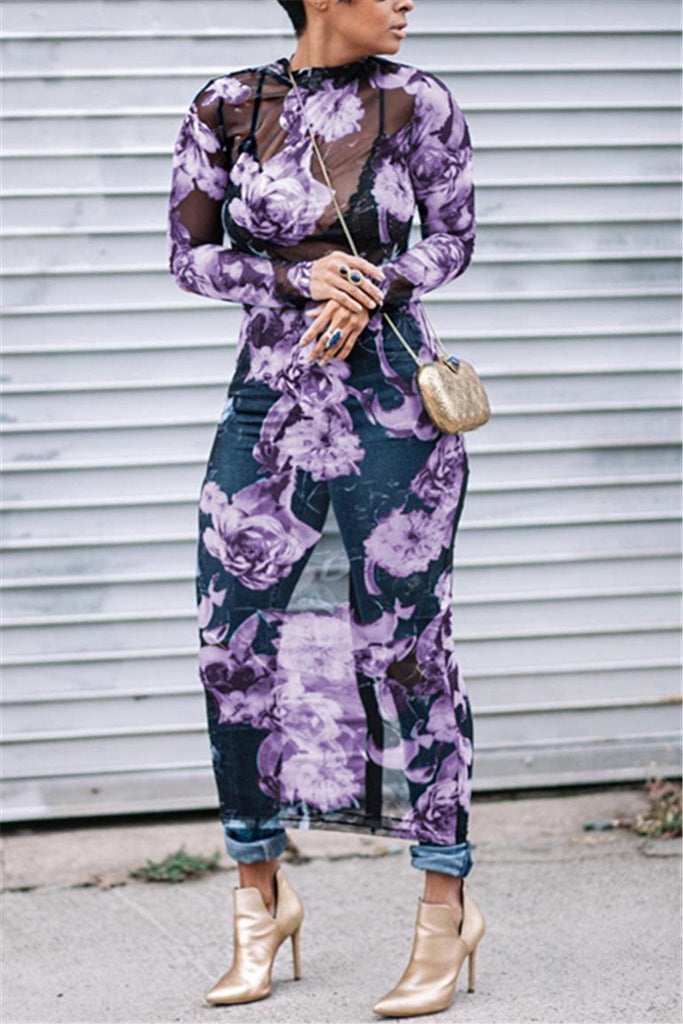 Floral Print  Long Sleeve Maxi Dress - MISSINLOOK