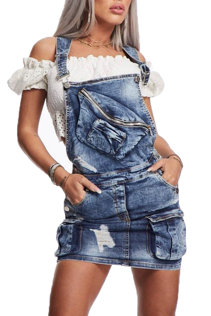 Denim Pocket Sleeveless Distressed Dress