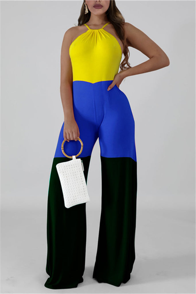 Color Block Sleeveless Casual Jumpsuit