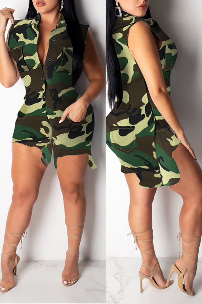 Distressed Camouflage Print Pocket Romper