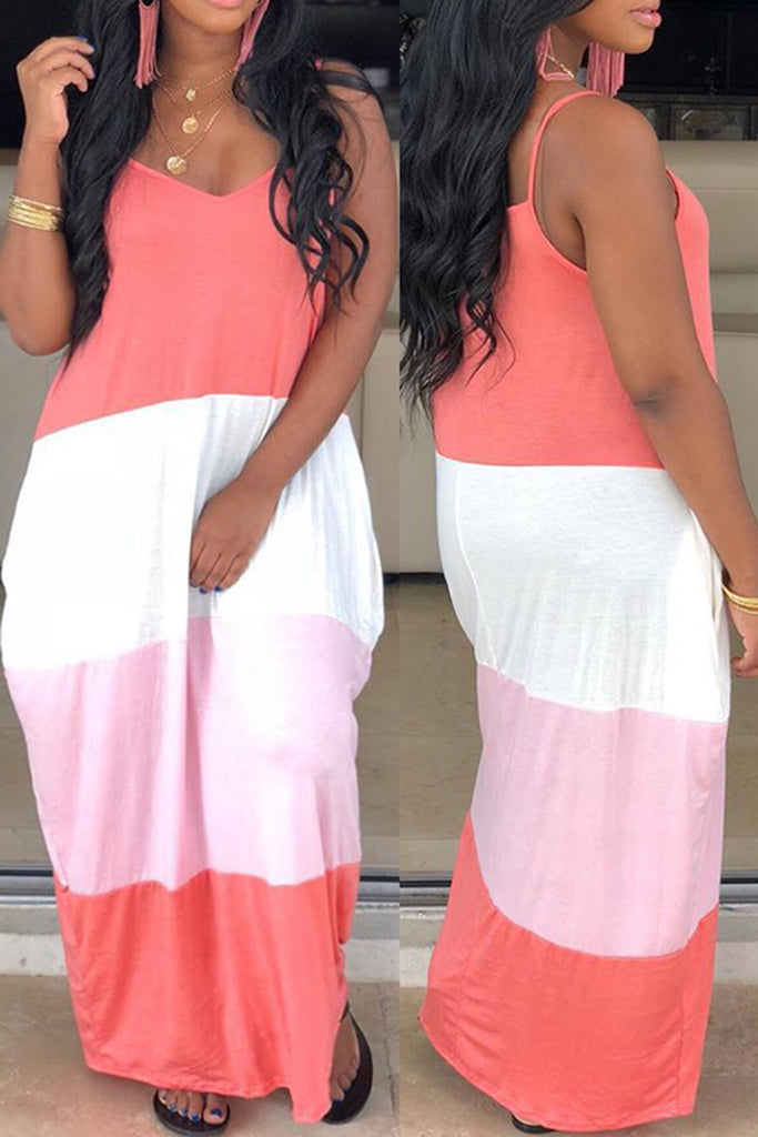 Color Block V-Neck Maxi Dress