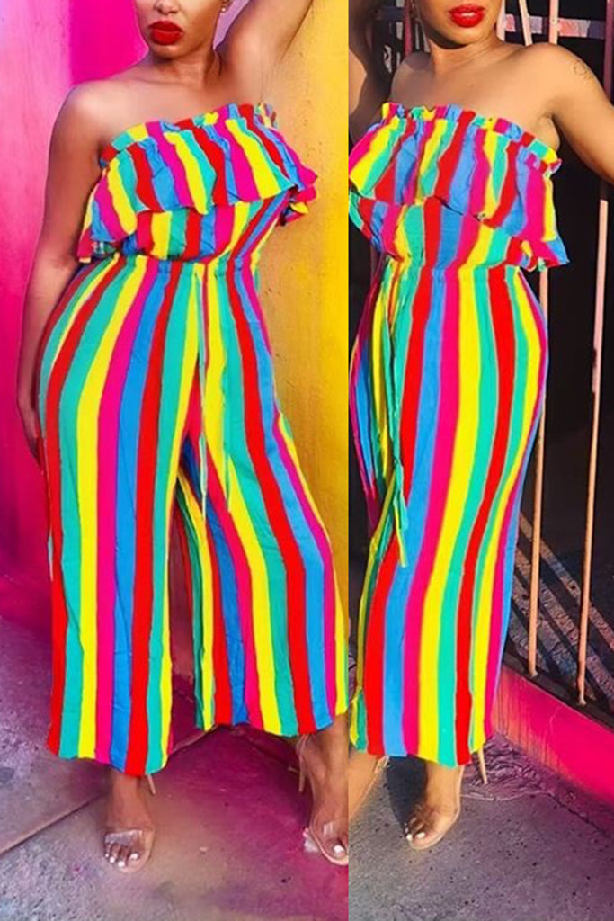 Rainbow Striped Ruffled Wide Leg Jumpsuit