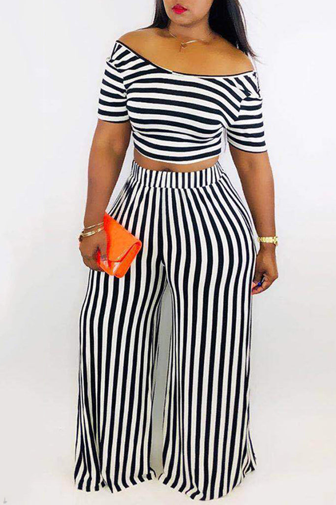 Short Sleeve Striped Top & Wide Leg Pants