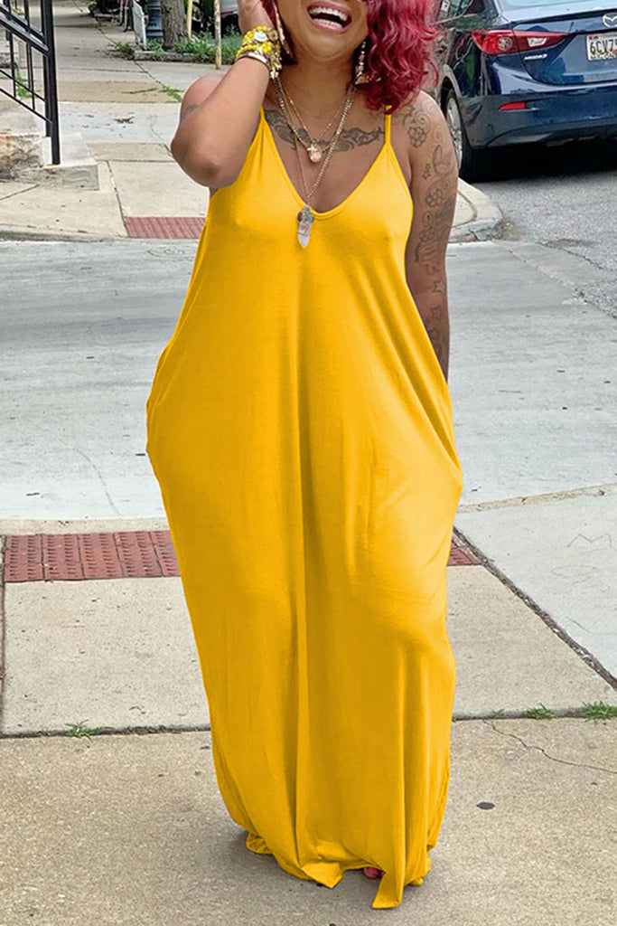 V-Neck Pocket Solid Color Maxi Dress