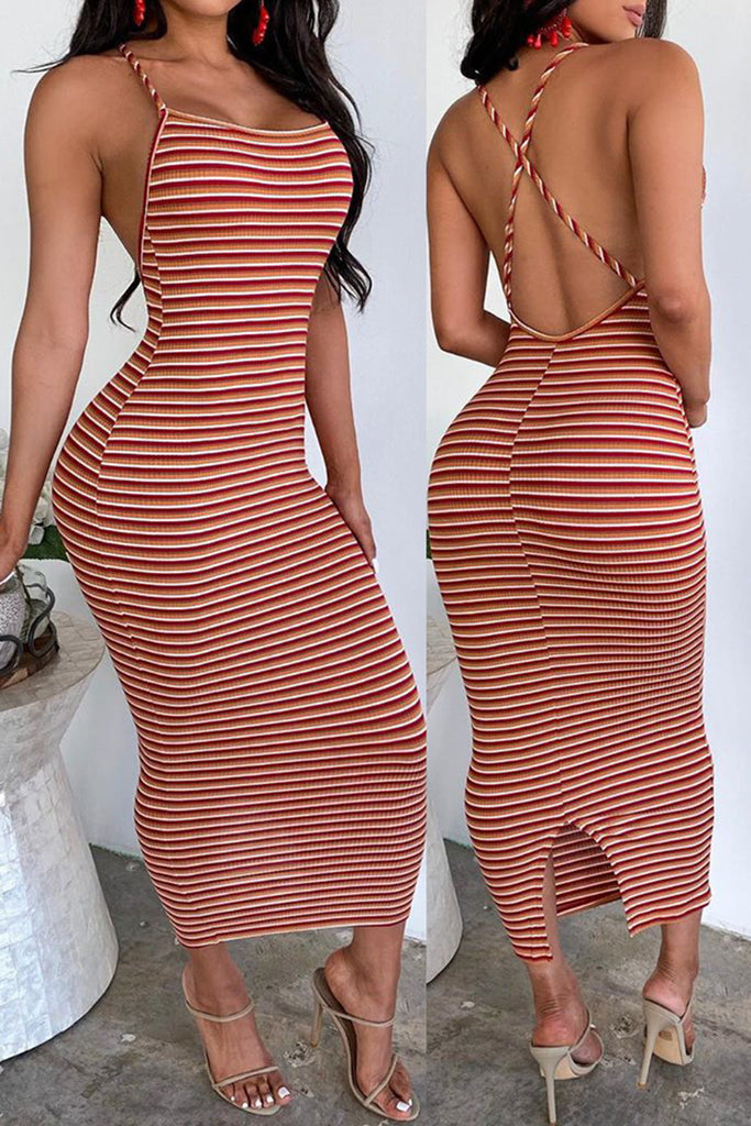 Striped Criss Cross Back Slit Hem Dress