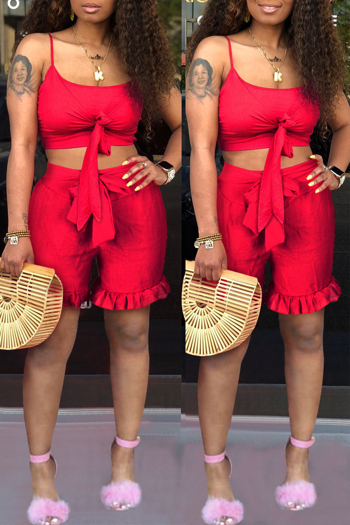 Spaghetti Straps Tie Up Ruffle Solid Top & Shorts