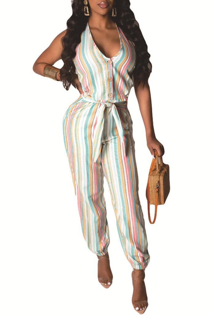 Halter Neck Striped Button Casual Jumpsuit