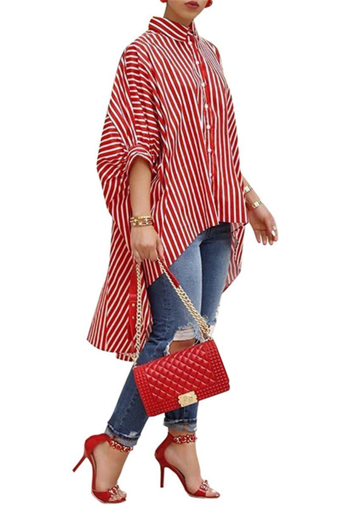 Asymmetric Hem Stripe Print Casual Shirt - MISSINLOOK