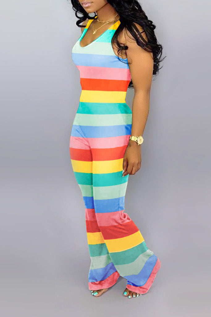 Round Neck Rainbow Striped Jumpsuit