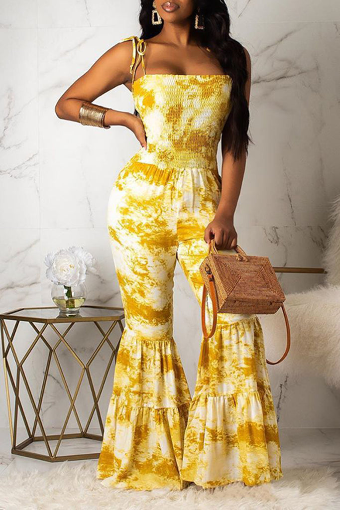 Draped Digital Print Flared Casual Jumpsuit