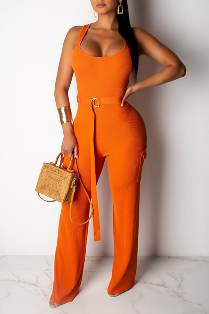 Back Zipper Rib Pocket Jumpsuit With Belt