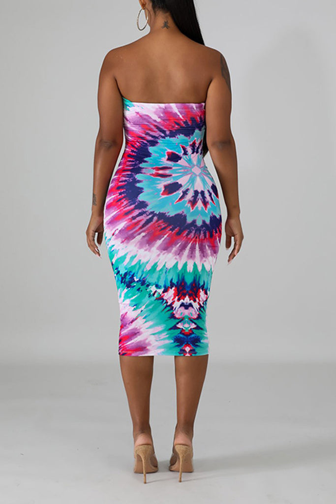 Digital Print Strapless Club Midi Dress