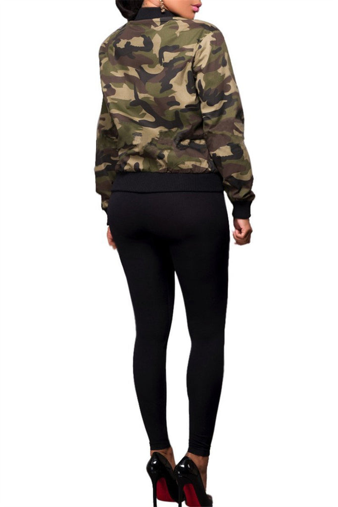 Camouflage Zip Up Long Sleeve Pocket Casual Jacket - MISSINLOOK