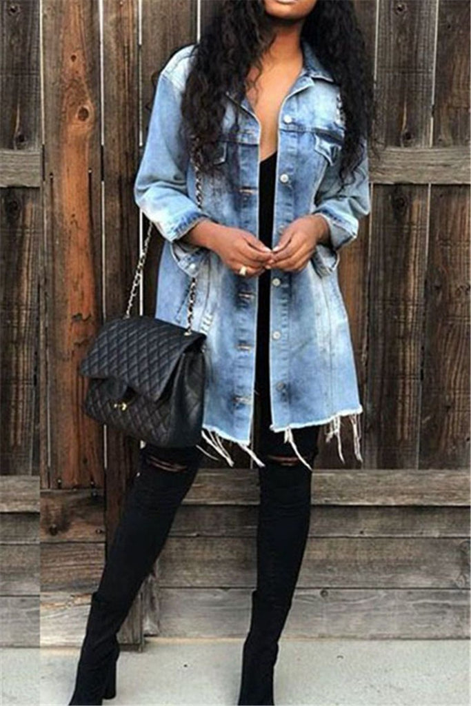 Button Up Long Sleeve Pocket Denim Coat - MISSINLOOK