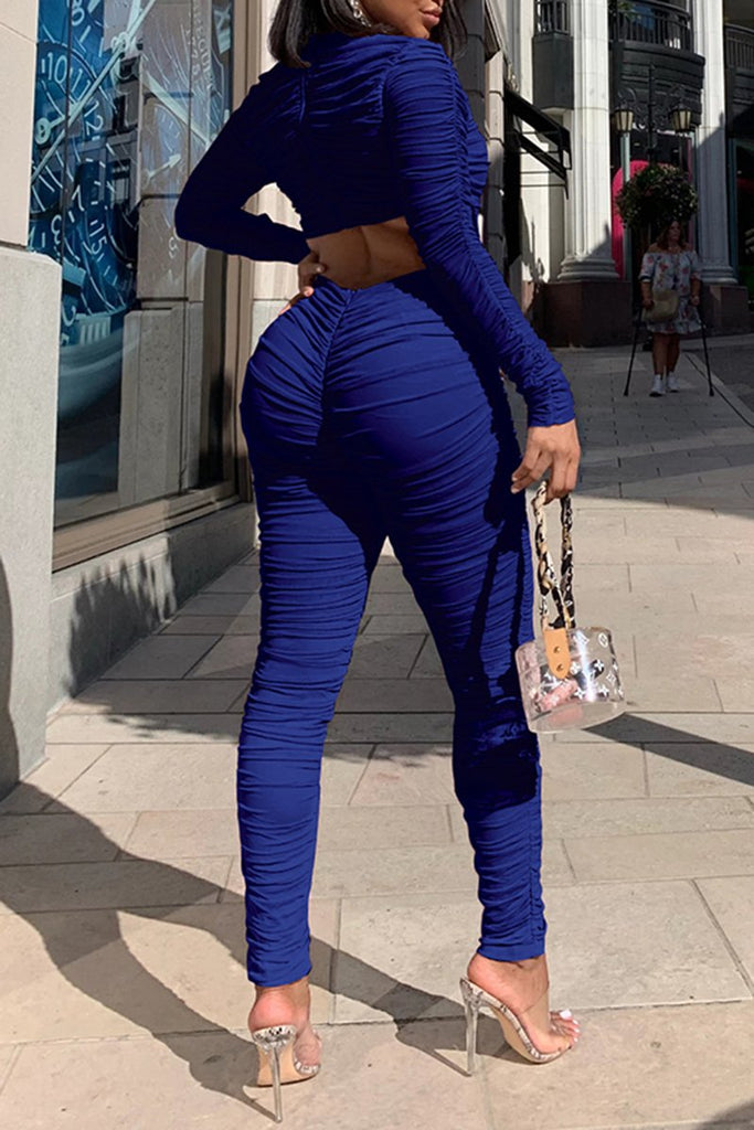 Draped Pierced Solid Color Jumpsuit