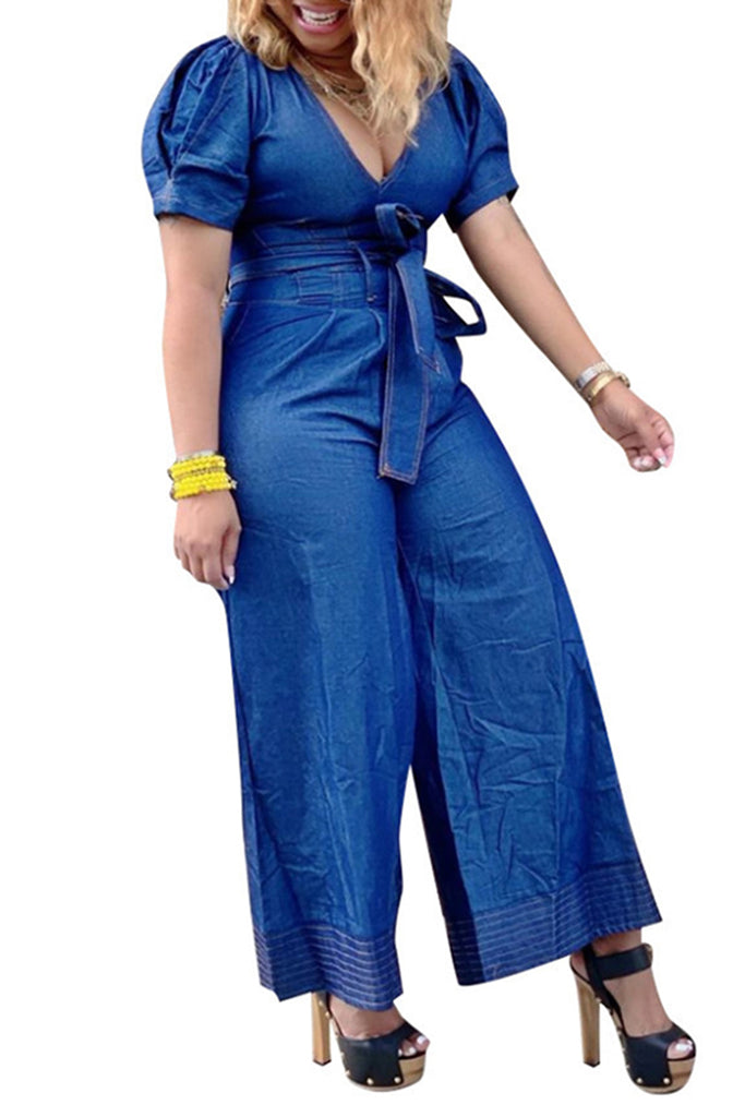Denim V-Neck Solid Color Jumpsuit With Belt