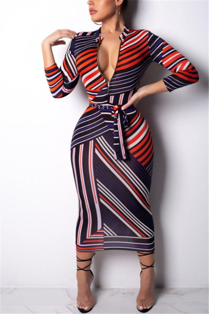 Printed Zip Up Belted Midi Dress