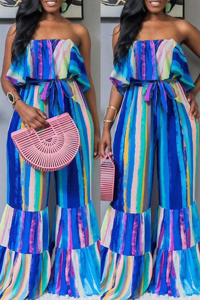 Striped Ruffled Flared Jumpsuit With Belt