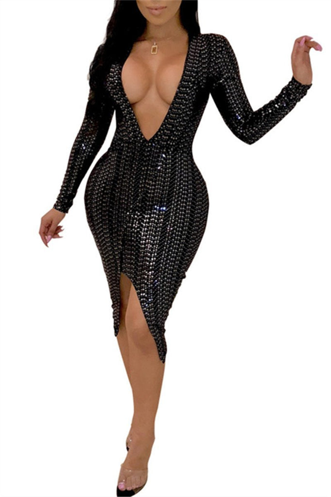 Plunging Neckline Long Sleeve Sequined Asymmetric Hem Dress