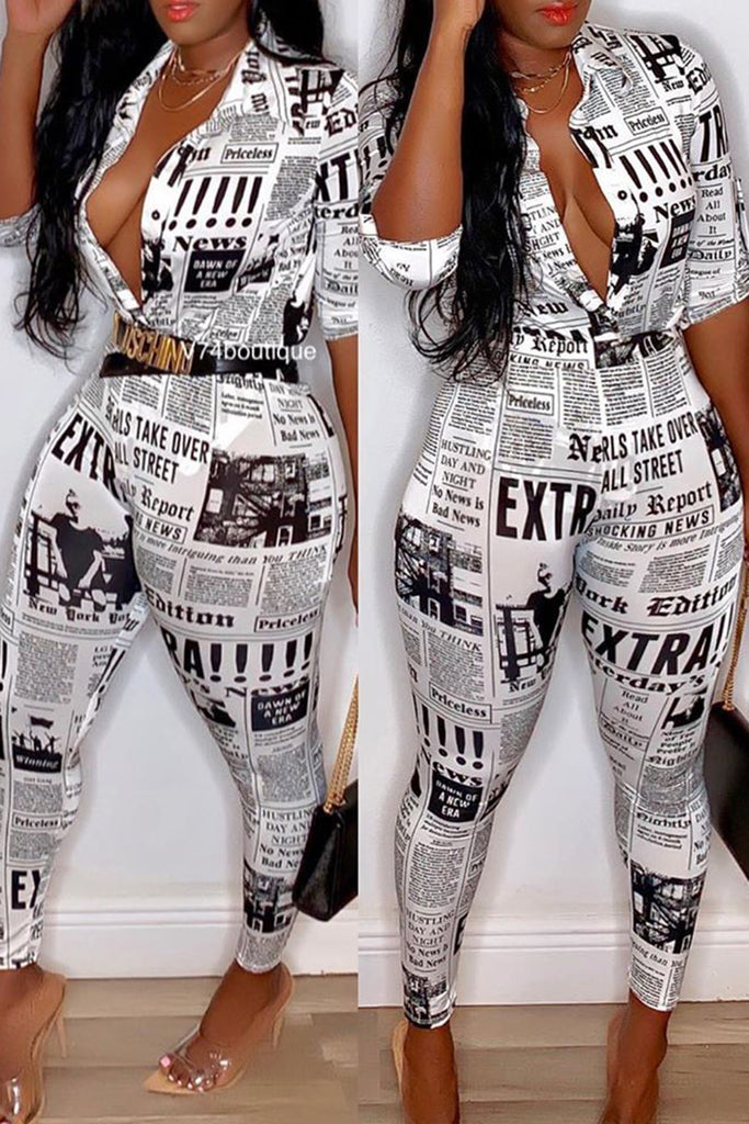Newspaper Print Button Two Piece Sets