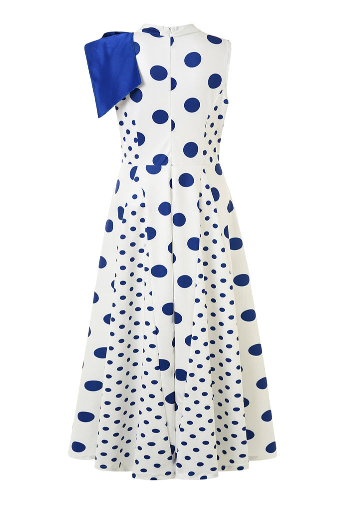 Bowknot Polka Dot Sleeveless Maxi Dress