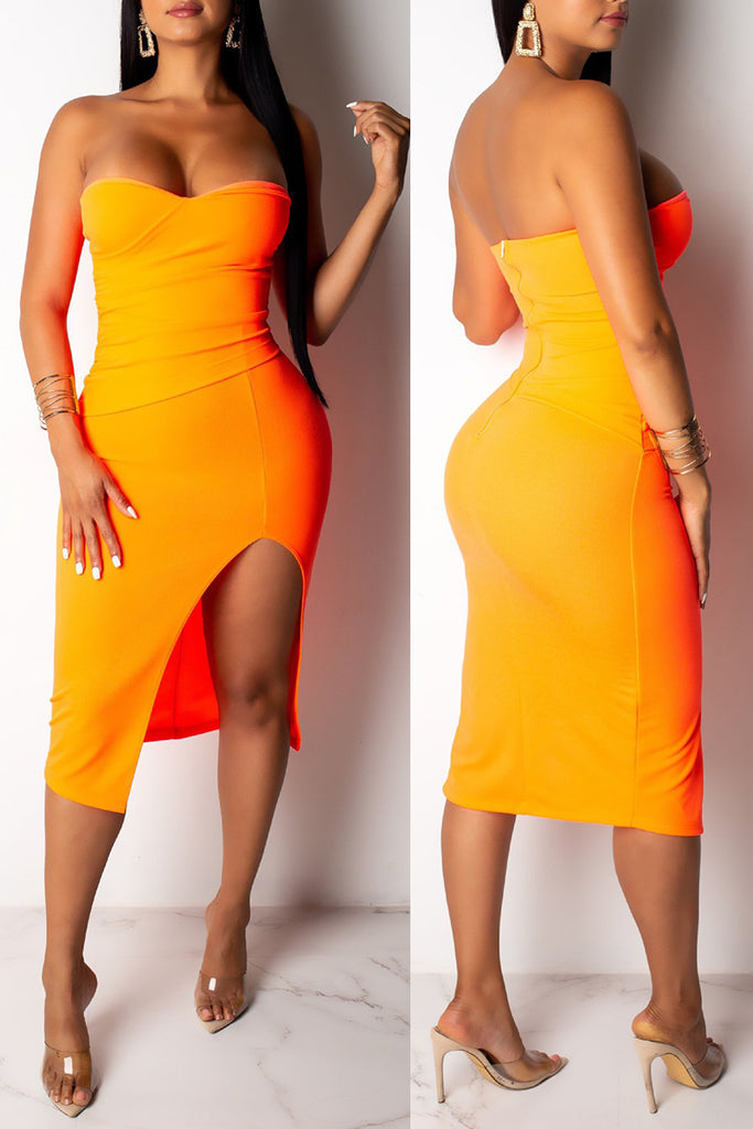 Strapless High Slit Solid Color Club Dress