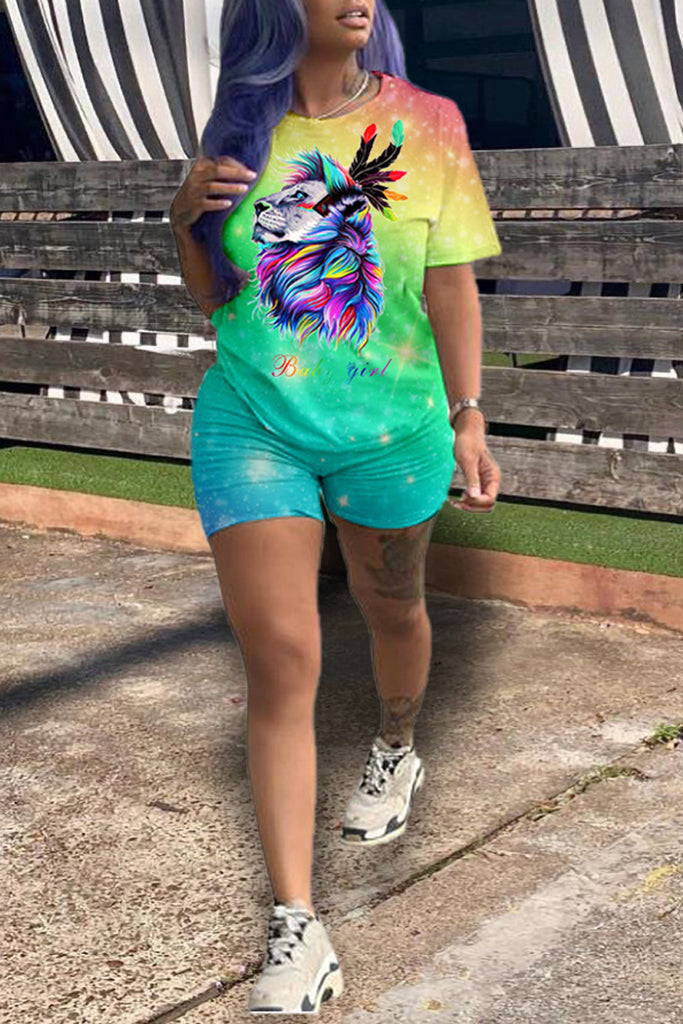Gradient Print Short Sleeve Top & Shorts