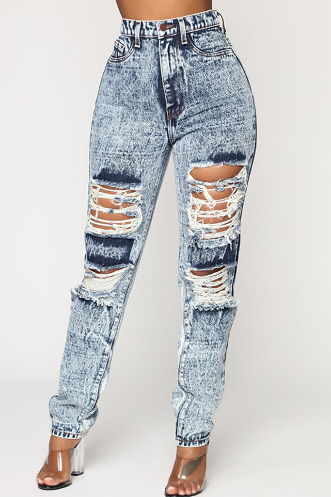 Hole Distressed Pocket High Waist Ripped Stretch Jeans