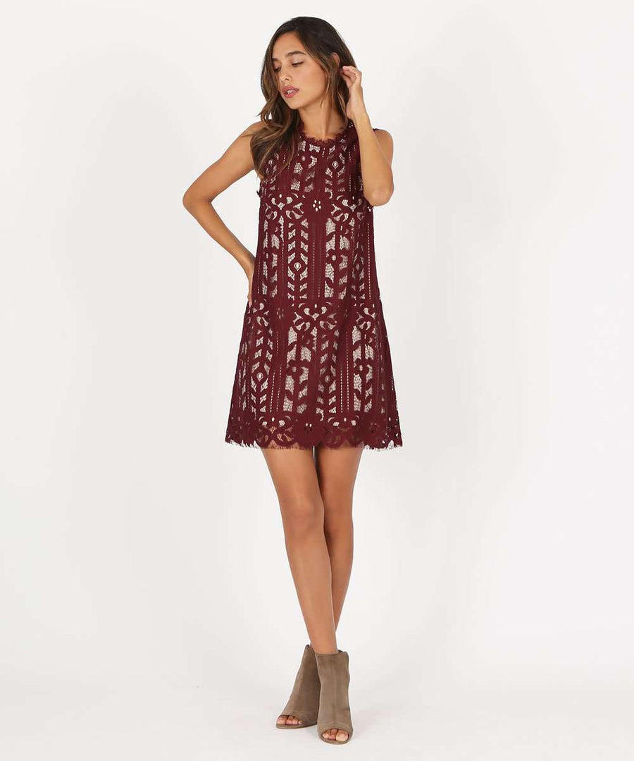 Rachel Lace Shift Dress-Dressy Dresses-Large-Wine/Nude-Speechless
