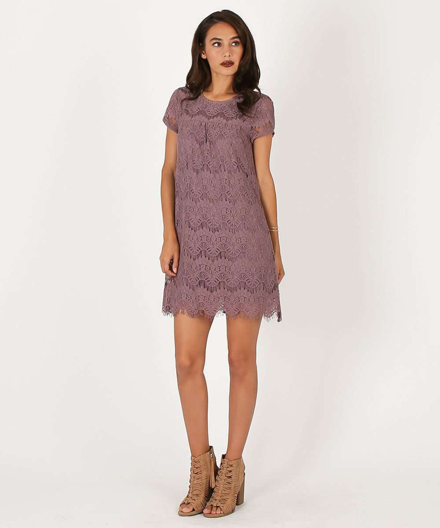 Nora Scallop Shift Dress-Casual Dresses-Large-Dark Mauve-Speechless