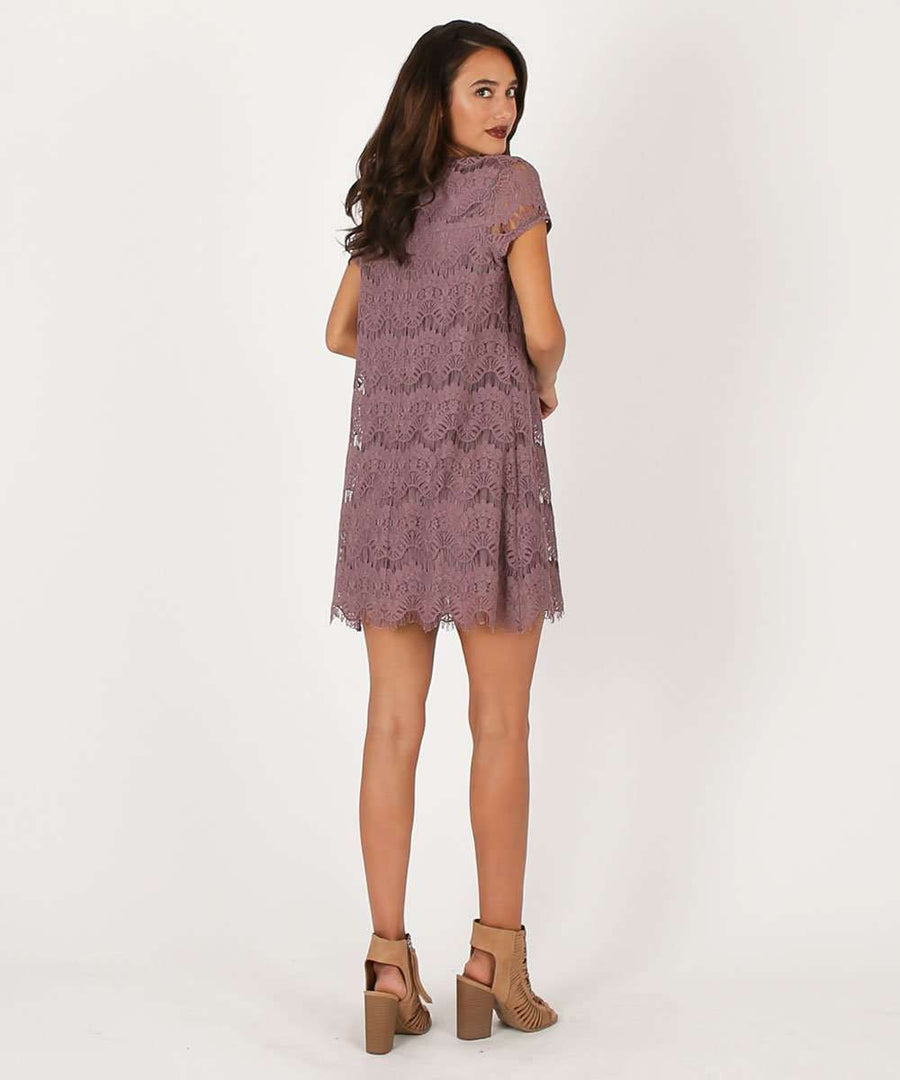 Nora Scallop Shift Dress-Casual Dresses-Speechless