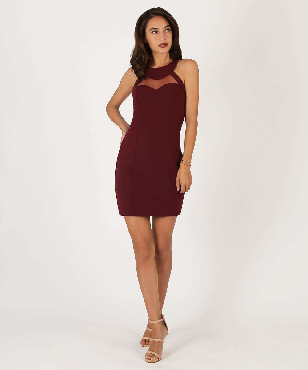Karlie Illusion Yoke Bodycon Dress-Speechless