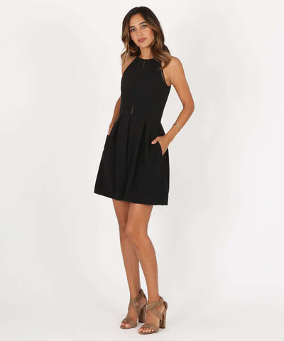 Sure Thing Skater Dress-Dressy Dresses-Medium-Black-Speechless